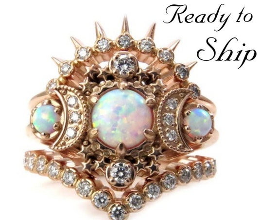 Ready to Ship Size 6 - 8 - Cosmos Moon Engagement Ring 3 Ring Set with Lab Opals and Diamonds - Boho Celestial Wedding Set - 14k Rose Gold