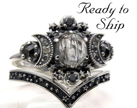 Ready to Ship Size 6 - 8 -Rose Cut Black Rutile Quartz Cosmos Moon Engagement Ring Set - Sterling Silver - Black and Salt & Pepper Diamonds