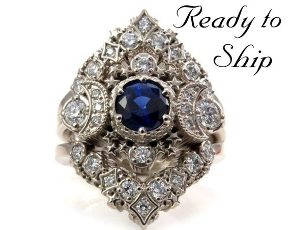 Ready to Ship Size 6 - 8 - Cosmos Constellation Engagement Ring Set - Chatham Sapphire & Diamonds Celestial Wedding Set - 14k White Gold