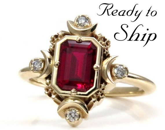 Ready to Ship Size 6 - 8 - Step Emerald Cut Chatham Ruby Artemis Moon Engagement Ring with Diamonds - Moon & Stars Wedding - 14k Yellow Gold