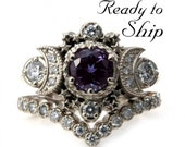 Ready to Ship Size 6 - 8 - Chatham Alexandrite Cosmos White Gold Moon Engagement Ring - Moon & Star Wedding Set