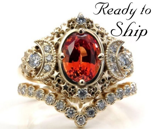 Ready to Ship Size 6 - 8 - Starseed Engagement Ring Set - Oval Chatham Padparadscha Sapphire and Diamonds - 14k Yellow Gold
