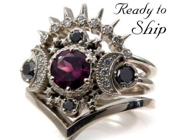 Ready to Ship Size 6 - 8 -Cosmos Moon Engagement Ring 3 Ring Set with Rhodolite Garnet & Diamonds - Gothic Celestial Wedding Set