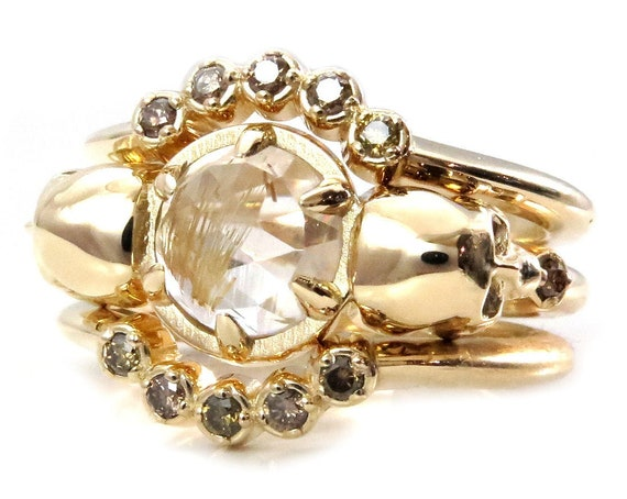Day of the Dead Skull Engagement Ring Stacking Set - Rutile Quartz with Champagne Diamond Arc Bands