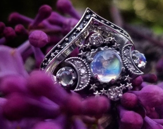 Smooth Moonstone Cosmos Moon and Star Engagement Ring - Sterling Silver with White Diamonds - Nature Engagement