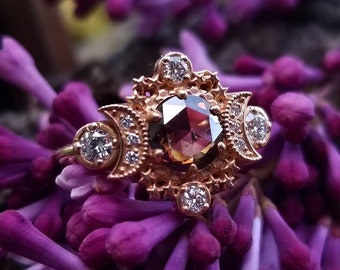 Ready to Ship Size 6 - 8 -  Rose Cut Champagne Diamond Cosmos Engagement Ring with White Diamonds - 14k Rose Gold - OOAK