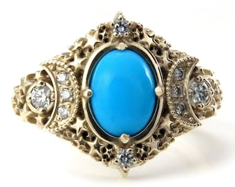 Gold Starseed Engagement Ring - Oval Sleeping Beauty Turquoise and Diamonds - Stardust Celestial Jewelry