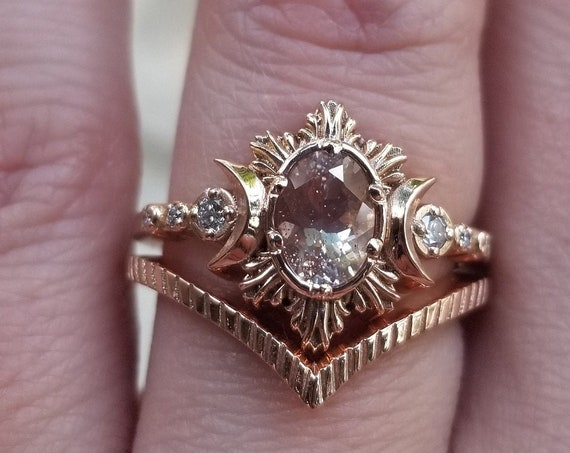 Ready to Ship Size 6 - 8 - Oval Oregon Sunstone Moonfire Engagement Ring - Triple Moon Ring - 14k Rose Gold