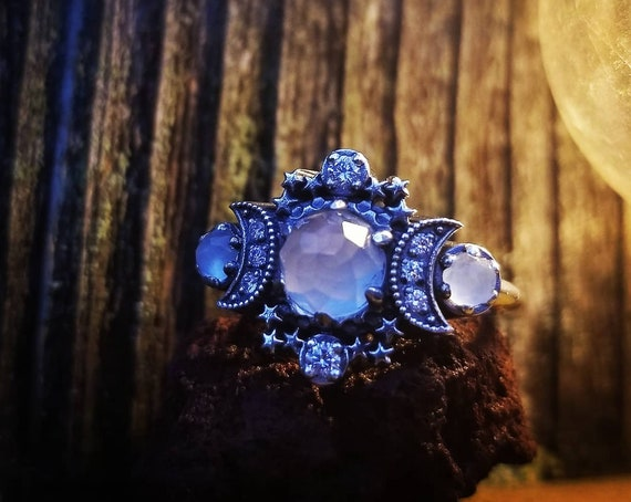 Ready to Ship Size 5 - 7 - Rose Cut Milky Aquamarine Cosmos Triple Moon and Stardust Engagement Ring  Set - Sterling Silver & White Diamonds