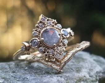 Galaxie Celestial Engagement Ring with Forest Chevron - 14k Gold - Pick your Salt & Pepper Diamond - Boho Moon Wedding Ring Set