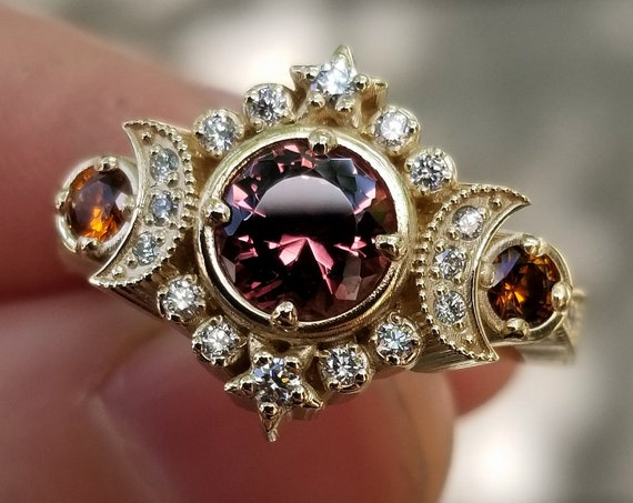 Ready to Ship Size 6 - 8 - Selene Moon Goddess Engagement Ring Set - Malaya & Hessonite Garnets with White Diamonds - 14k Yellow Gold