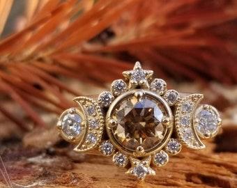Selene Moon Goddess Ring - Natural Champagne Diamond with White Diamonds - 14k Yellow Gold