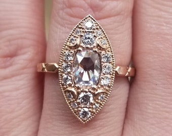 Ready to Ship Size 6 - 8 - Navette Moon Ring - Rose Cut Antique Cushion Moissanite with White Diamonds - 14k Rose Gold