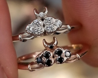 READY TO SHIP Size 6 - 8 - Diamond Cloud Ace of Moons Ring - Tarot Moon & Cloud Engagement Ring