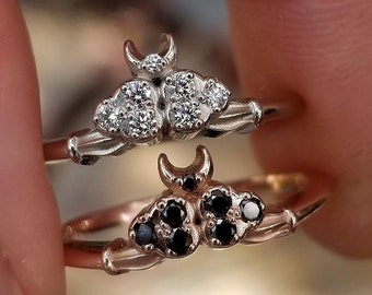Diamond Cloud Ace of Moons Ring - Tarot Moon & Cloud Engagement Ring