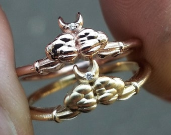 READY TO SHIP Size 6 - 8 - Ace of Moons Ring - 14k Yellow or Rose Gold - Tiny Moon & Cloud Engagement Ring