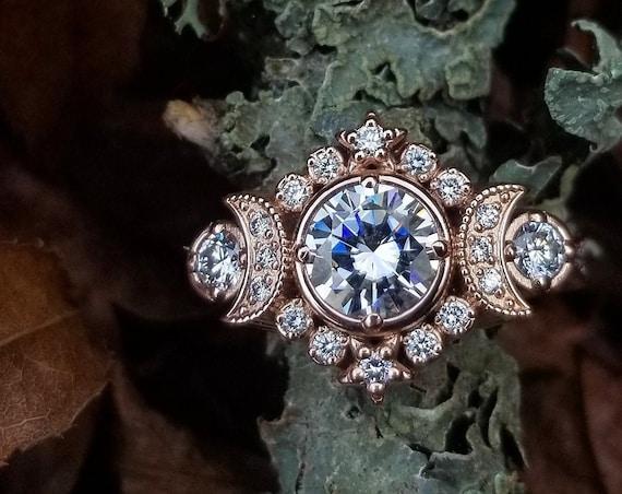 Selene Triple Moon Goddess Engagement Ring - Moissanite or Galaxy Diamond Lunar Boho Wedding Ring -14k Rose Gold