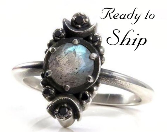 Ready to Ship Size 6 - 8 - Gothic Luna Labradorite Engagement Ring with Black Diamonds - Sterling Silver