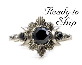 Ready to Ship Size 6 - 8 - Black and White Diamond Moon Fire Engagement Ring - 14k Palladium White Gold