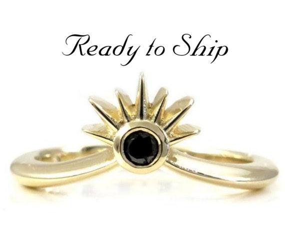Ready to Ship Size 6 - 8 - Sunset Black Diamond Stacking Chevron Wedding Band - 14k Yellow Gold