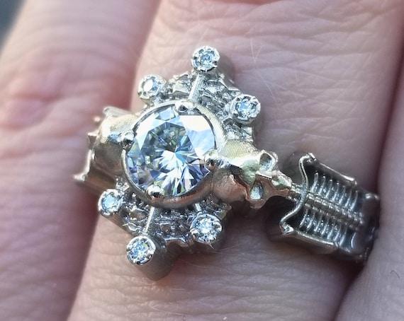 Skeleton Catacomb Ring with Moissanite & Diamond  Pebble Halo - 14k Palladium White Gold