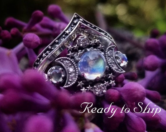 Ready to Ship Size 6 - 8 - Smooth Moonstone Cosmos Moon and Star Engagement Ring - Sterling Silver with White Diamonds - Nature Engagement