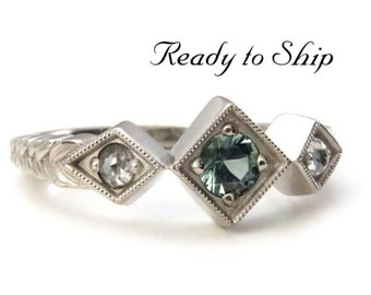 Ready to Ship Size 6 - 8 - Tanzanian Sapphire & Rose Cut Diamond Art Deco Engagement Ring with Sage Leaf Band - 14k Palladium White Gold