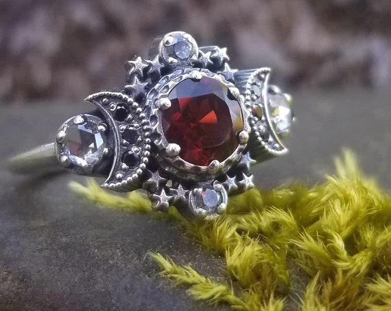 Red Garnet & Grey Diamond Cosmos Moon Engagement Ring Set Silver Goddess Moon and Stardust Chevron Wedding Band