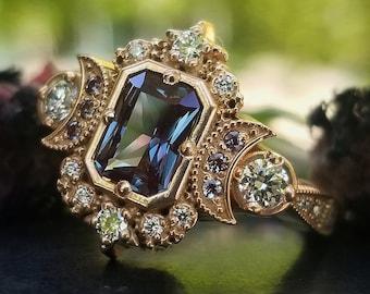 Radiant Emerald Cut Alexandrite Selene Crescent Moon Engagement Ring - Diamonds and Chatham Alexandrite - 14k Rose Gold