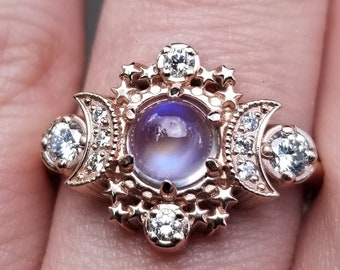 Cosmos Moonstone and Diamond Celestial Engagement Ring - Lunar Boho Rose Gold Moon Ring