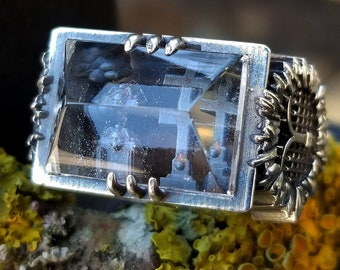 Cemetery Quartz Pyramid Rectangle Sterling Silver Ring with Graveyard Scene - Spooky Jewelry