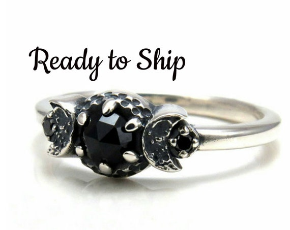 Ready to Ship - New Moon Crescent Moon Phase Ring - Black Diamonds and Black Spinel - Gothic Engagement Ring by Swankmetalsmithing