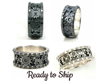 Mens Gear Ring - Sterling Silver Steampunk Band - Pick Your Finish - Ready to Ship