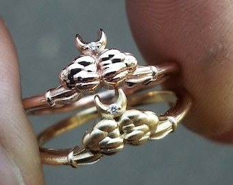 Ace of Moons Ring - 14k Yellow, Rose or Palladium White Gold - Tiny Moon & Cloud Engagement Ring