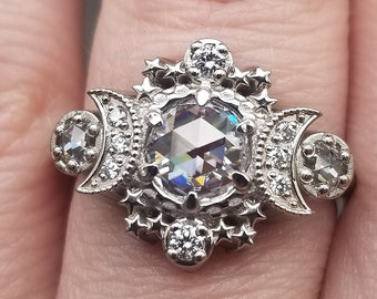 ALL Moissanite Cosmos Engagement Ring - Diamond Alternative - Ethically Sourced Celestial Moon Ring