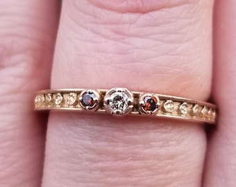 Champagne Diamond Moon Phase Band - 14k Rose Gold - Stacking Celestial Ring