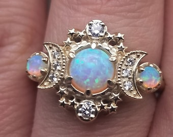 Lab Opal Cosmos Moon Engagement Ring - Rose Gold Celestial 3 Stone Diamond Ring