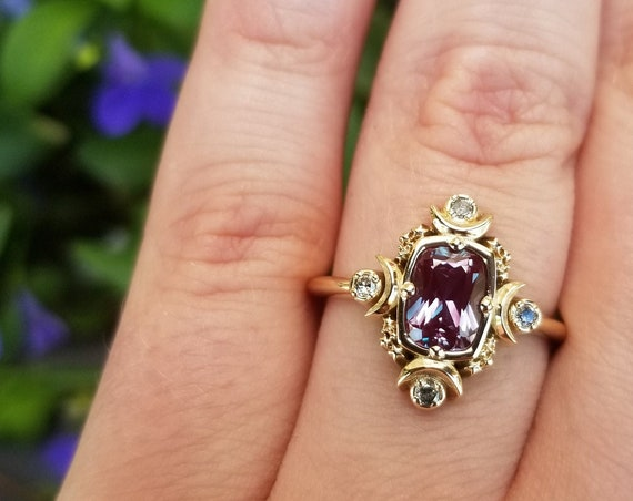 Artemis Moon Engagement Ring with Chatham Alexandrite Cushion and Salt & Pepper Diamonds - Goddess Engagement