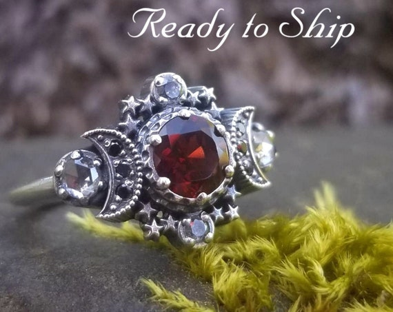 Ready to Ship Size 6 - 8 - Red Garnet & Grey Diamond Cosmos Moon Engagement Ring Set Silver Goddess Moon and Stardust Chevron Wedding Band