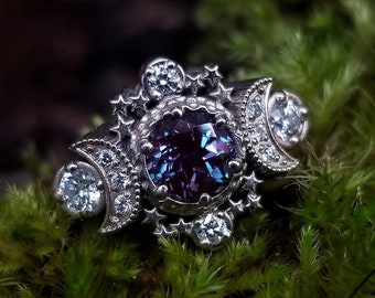 Chatham Alexandrite and Diamond Cosmos Moon and Star Engagement Ring - Gold Fine Jewelry