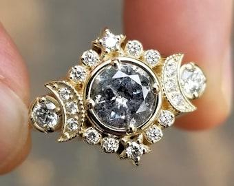 Selene Moon Goddess Engagement Ring - Moissanite or Galaxy Diamond Lunar Boho Wedding Ring -14k Palladium White Gold