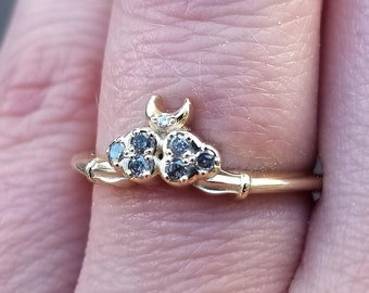 READY TO SHIP Size 6 - 8 - Salt & Pepper Cloud Ace of Moons Ring - 14k Yellow Gold