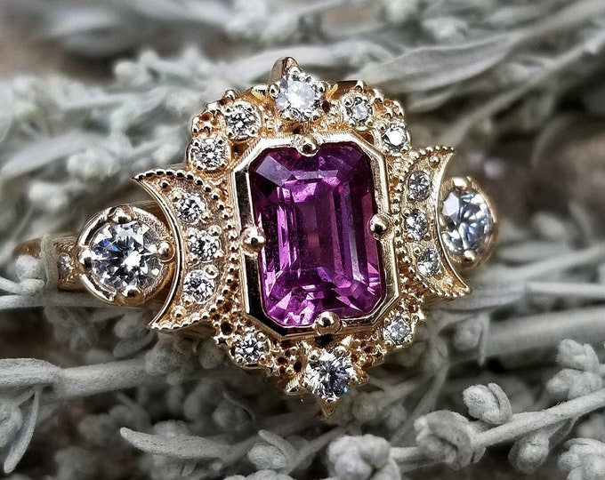 Featured listing image: Ready to Ship Size 6 - 8 - Natural Hot Pink Sapphire Selene Celestial Engagement Ring Set - Diamonds - 14k Yellow Gold