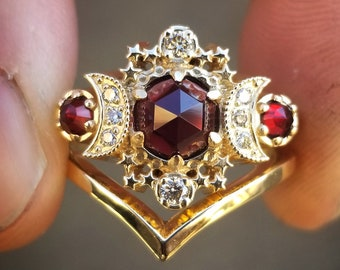 Ready to Ship Size 6 - 8 Rose Cut Red Garnet Cosmos Engagement Ring Set with Honey Champagne Diamonds - 14k Yellow Gold