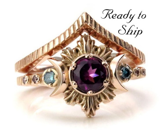 Ready to Ship Size 6 - 8- Purple Garnet Nebula Moon Fire Boho Engagement Ring Set with Blue & Lavender Diamonds