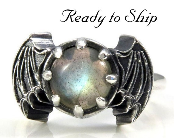 Ready to Ship Size 6 - 8 - Labradorite Bat Wing Gothic Engagement Ring - Sterling Silver Jewelry