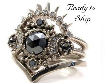 Ready to Ship Size 6 - 8 - Cosmos Moon Engagement Ring 3 Ring Set with Black & White Diamonds - Gothic Celestial Wedding Set - 14k Gold