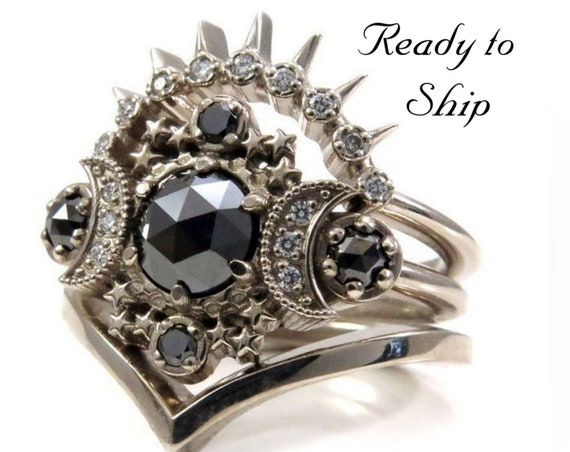 Ready to Ship Size 6 - 8 - Cosmos Moon Engagement Ring 3 Ring Set with Black & White Diamonds - Gothic Celestial Wedding Set - 14k Gold