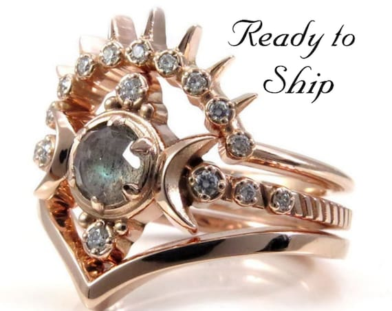 Ready to Ship Size 6 - 8 - Rose Cut Labradorite Compass Moon Engagement Ring Set with Diamond Sunray & Chevron Wedding Bands - 14k Rose Gold