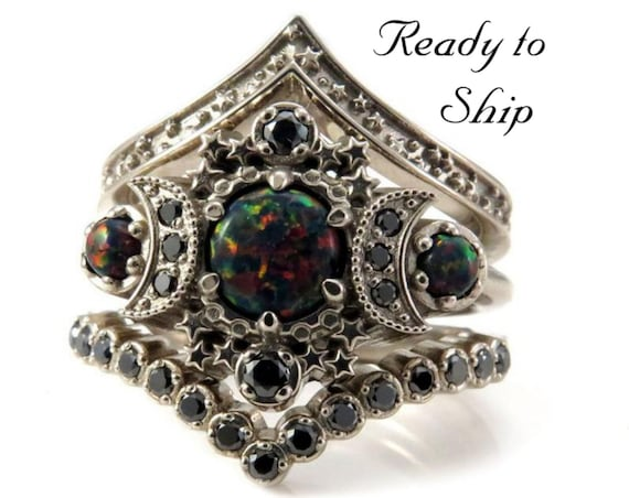 Ready to Ship Size 6 - 8 - Full Moon Lab Black Opal Engagement Ring Set - Cosmos Stardust and Black Diamond Chevron Wedding Bands